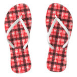 Pink and Red Plaid Flip Flops