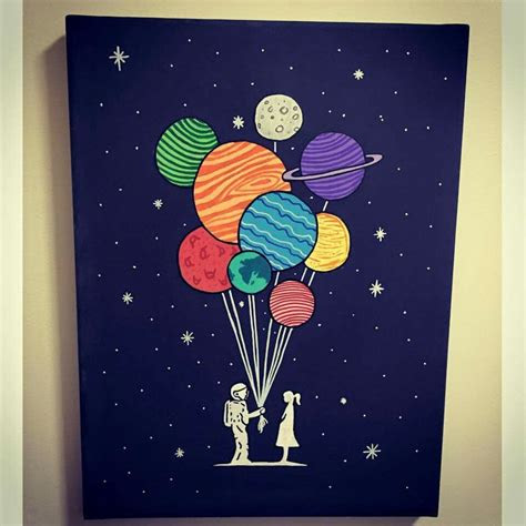 space canvas planets painting diy
