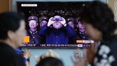 A TV news program shows a file image of North Korean leader Kim Jong Un at the Seoul Railway Station in Seoul, South Korea, Sunday, May 14, 2017. North Korea on Sunday test-launched a ballistic missile that landed in the Sea of Japan, the South Korean, Japanese and U.S. militaries said.