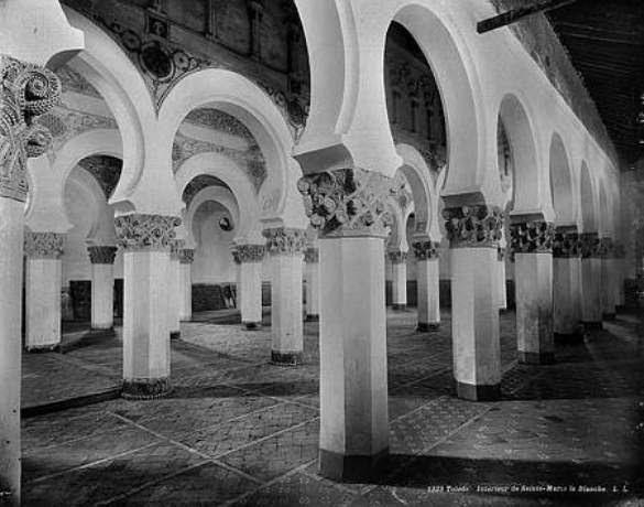 Sinagoga de Santa María la Blanca hacia 1880. Fotografía de Levy