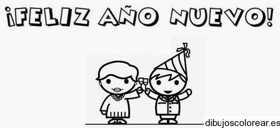 Dibujo De Dos Niños Con Un Feliz Año Nuevo