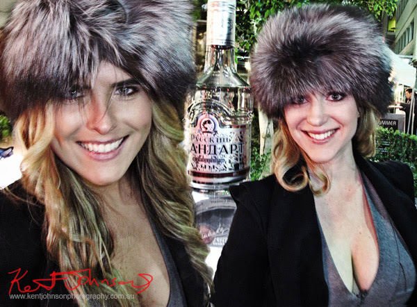 K Russian Standard Vodka Models in Silver Fox hats at World Square's Shop Til You Drop, 30 days of fashion and beauty.