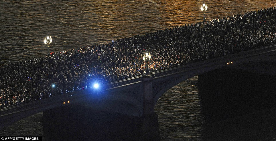 LONDON: Crowds gathered on Westminster Bridge in central London as they wait for New Years Eve fireworks to be set off