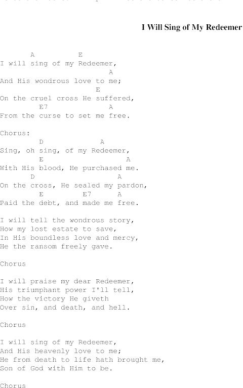 I Will Sing Of My Redeemer Lyrics And Chords