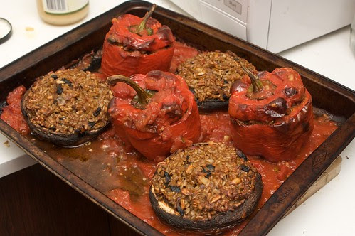 roasted capsicums and field mushrooms
