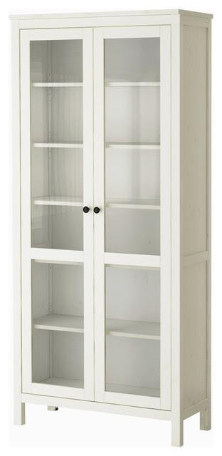 Hemnes Glass Door Cabinet, White Stain - modern - storage units ...