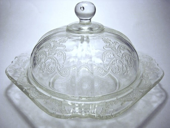 Depression Glass Covered Butter Dish Crystal by ...