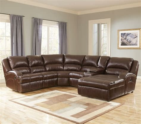 durablend harness leather sectional  recliner