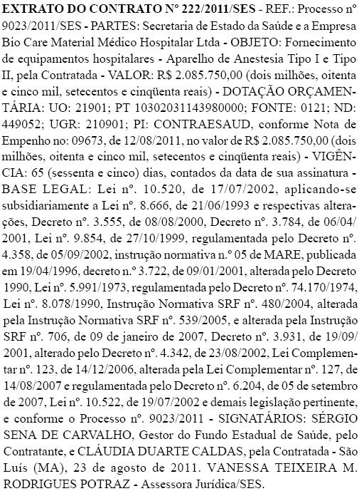 Extrato do contrato entre a Secretaria de Saúde do Estado e a Bio Care Material Medico Hospitalar. Foto: Reprodução / Diário Oficial do Estado do Maranhão