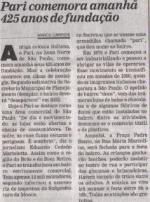 Autor deste blog aparece em reportagem sobre o Pari no Diário de S.Paulo