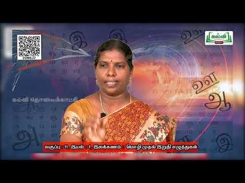 11th Tamil இலக்கணம் மொழி முதல் இறுதி எழுத்துக்கள் இயல் 1 அலகு 1 Kalvi TV