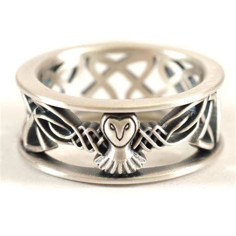 Sterling Silver Owl Wedding Band, Celtic Owl Ring, Mens