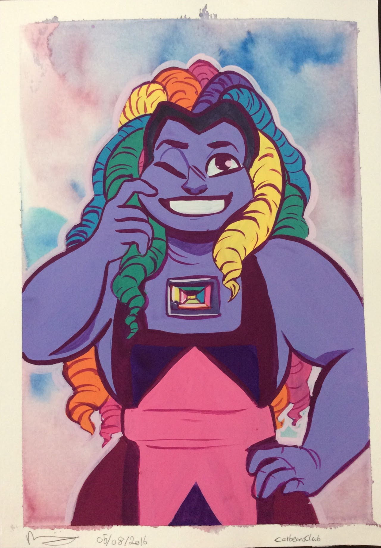 She means bismuth Background is watercolour, Rest is gouache. Painted on watercolour paper (hot pressed/smooth) 8.5x12 inches (21x29.2 cm) roughly A4 size Another painting that I may consider making...