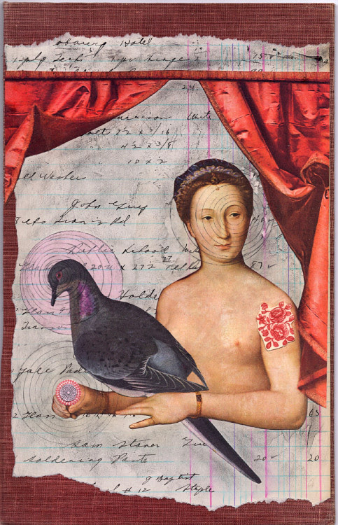 Lady Clara's Ablution July 2011 Collage on vintage book cover Just added to my shop.