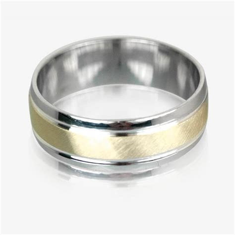 9ct Gold & Sterling Silver Luxury Weight Mens Wedding Ring 7mm