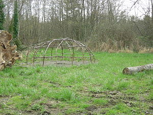 Framework of sweat lodge, Daybreak Star Cultur...