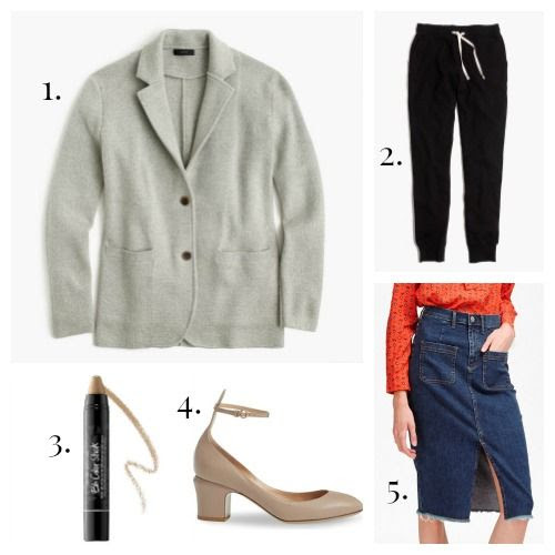 J.Crew Blazer - Madewell Sweatpants - Bumble and bumble Color Stick - Valentino Pumps - French Connection Skirt