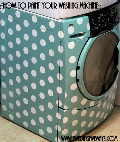 How to paint your washing machine with polka dots!