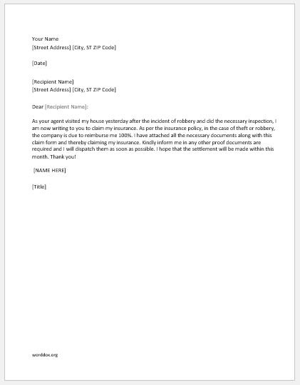 5 Best Claim Letters for All Situations | Word Document ...