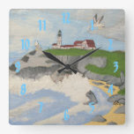 Lighthouse by the Sea Square Wallclocks