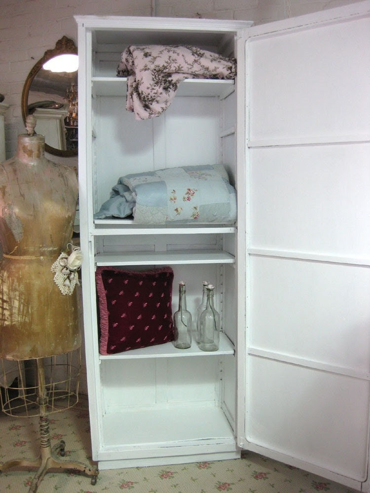 Tall Vintage Hand Painted White Linen Cabinet