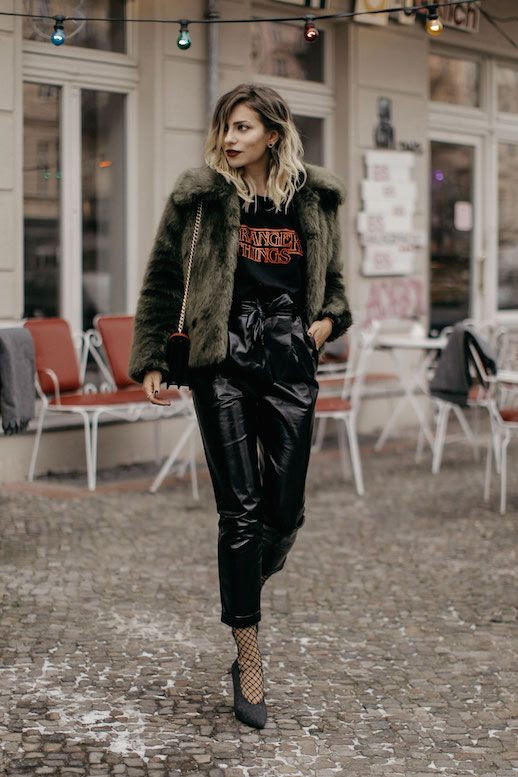 Le Fashion Blog Graphic T Shirt Vinyl Pants Faux Fur Fishnet Tights Black Heels Via Masha Sedgwick