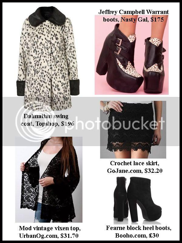 Topshop Dalmatian coat, crochet lace skirt, Jeffrey Campbell Warrant boots, lace cardigan top, Boohoo block heel platform boots
