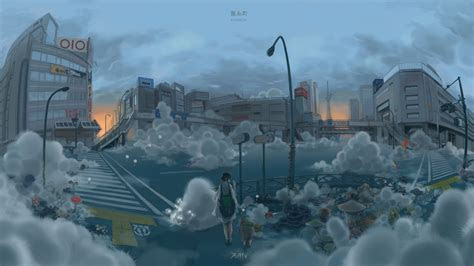 hd wallpaper apocalypse girl city smoke