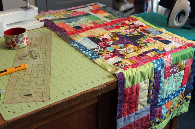 Scrappy Quilt -- 3 blocks finished!