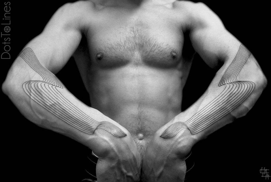 Estas 20 tatuagens lineares geométricas feitas por Chaim Machlev flutuam elegantemente pelo corpo 14
