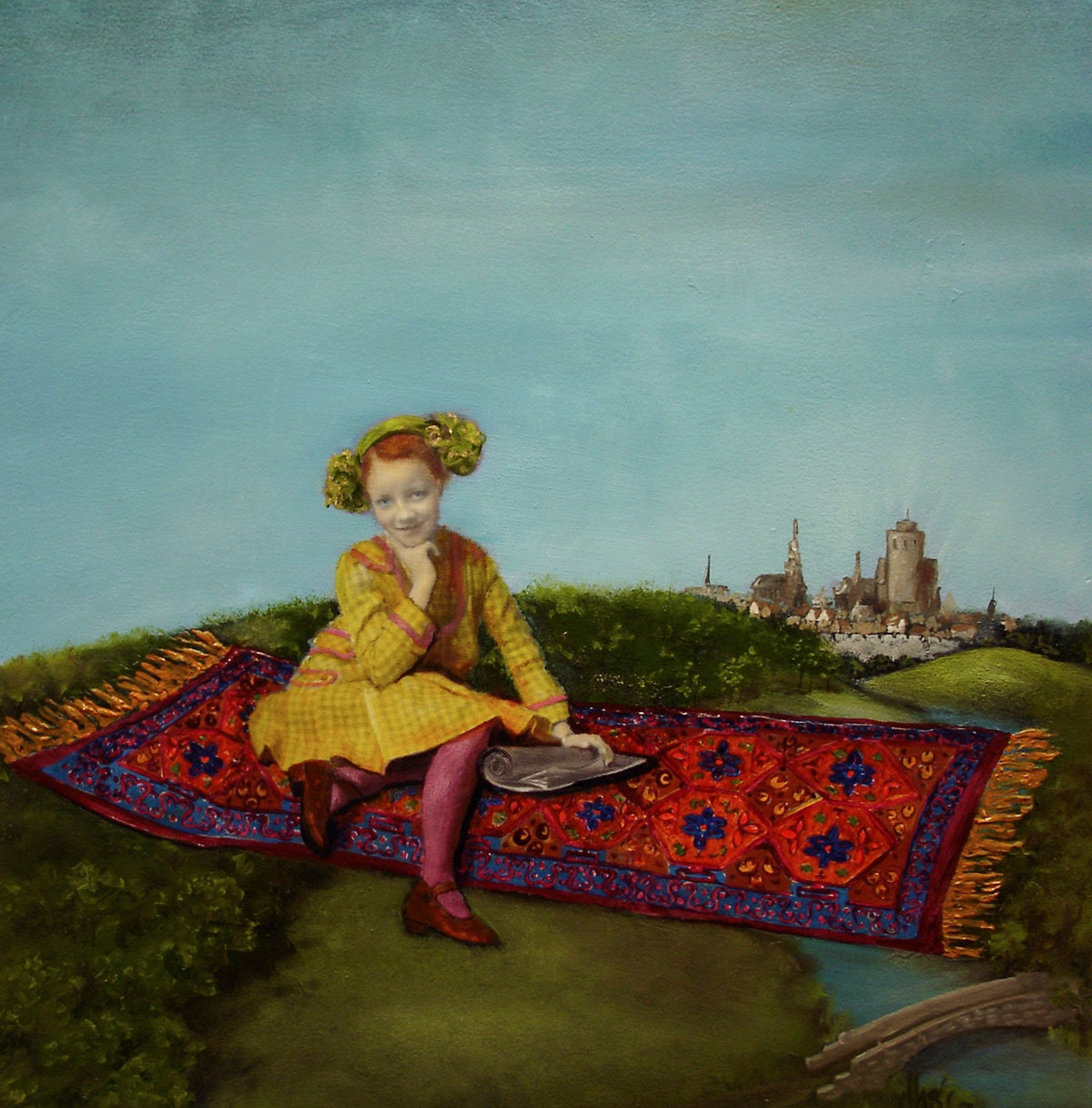 Magic Carpet Art PRINT, Girl, Flying Carpet, magical, fantasy, flying, Victorian, castles, 8 x 8 archival