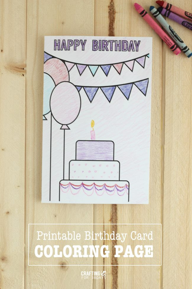 Printable Birthday Cards - Coloring Page