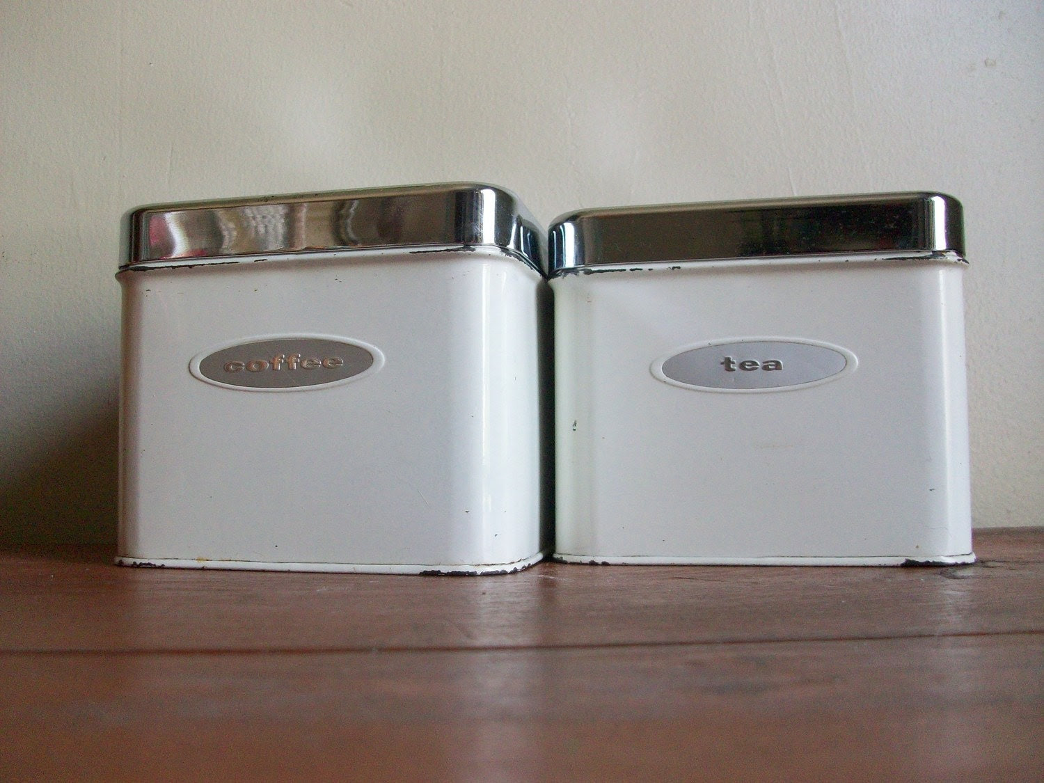 vintage 1950s white metal masterware kitchen canisters