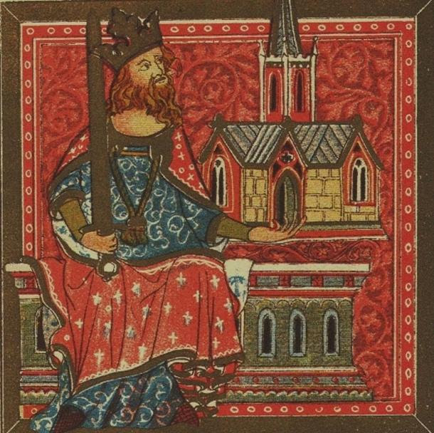 King Offa of Mercia from the Benefactors Book of St. Alban's Abbey. C1380.