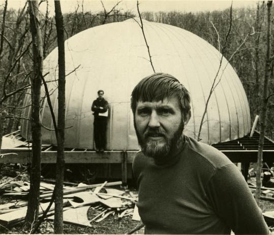 Stan VanDerBeek in front of his Movie-Drome in Stony Point, N.Y., in 1965.