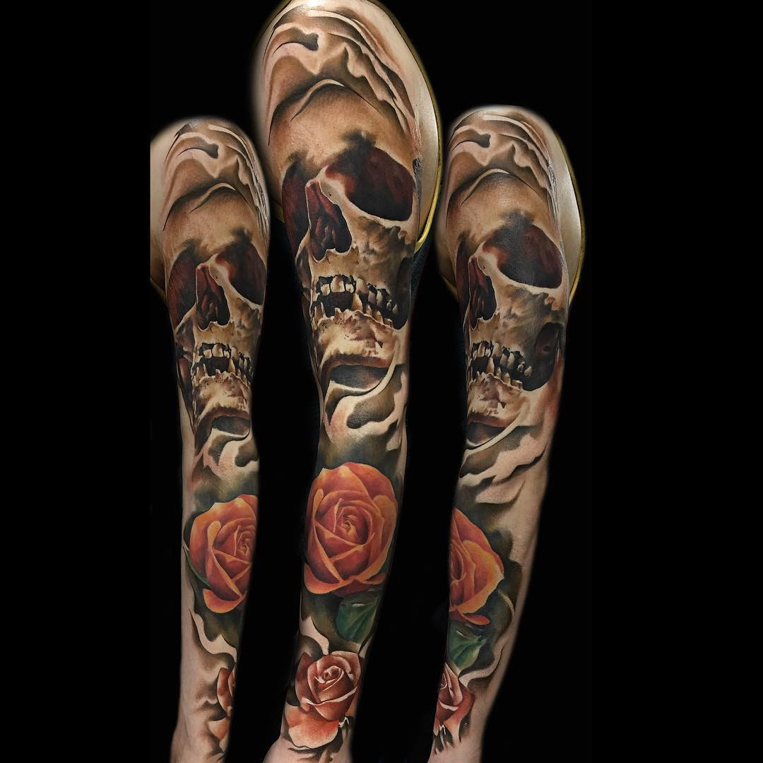 Skull And Roses Tattoo Sleeve Best Tattoo Ideas Gallery