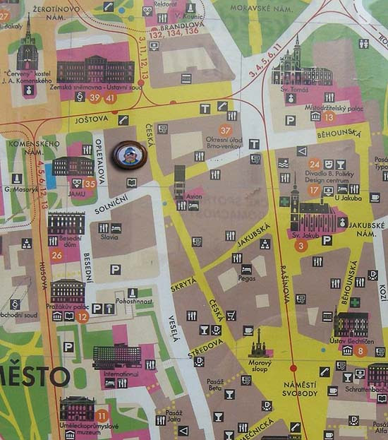 Brno, Restaurant Švejk, on the map of the old town
