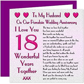 My Husband 18th Wedding Anniversary Card   On Our