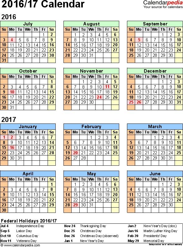 Split year calendar 2016/2017 - printable Excel templates