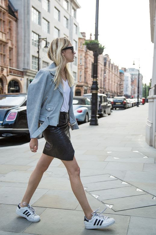 Le Fashion Blog 25 Ways To Wear Adidas Sneakers Suede Moto Jacket White Tee Leather Mini Skirt Superstar Street Style Via Camille Over The Rainbow
