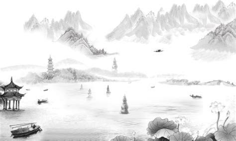 Chinese Landscape Painting Style Poster Design Background