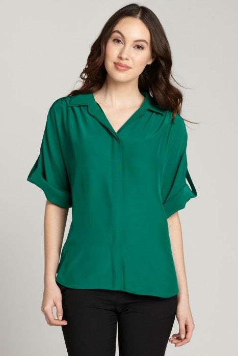 Lafayette 148 Sheena Convertible Sleeve Blouse