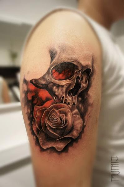 Rose And Skull Tattoo By Mumia Tattoo Best Tattoo Ideas Gallery