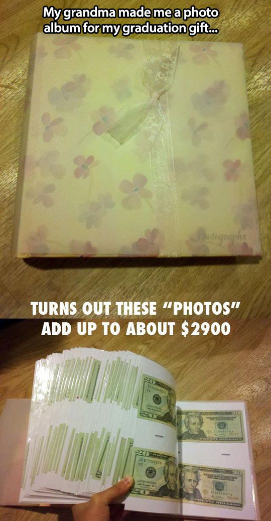 Cool idea! Once a month for their lives, put $10 in a photo album for your kids....around $2000 buy the time they graduate/turn 18