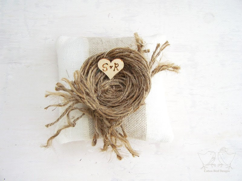 Vintage Linen Wedding Ring Pillow with Nest of Threads and personalised initial heart.