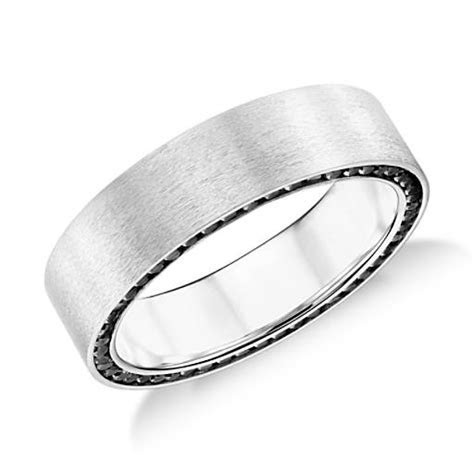 Colin Cowie Black Diamond Edge Wedding Ring in 14k White
