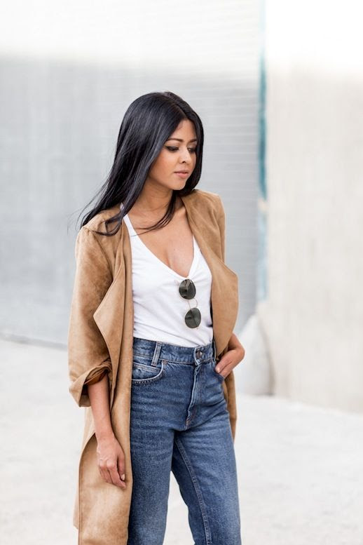 Le Fashion Blog Blogger Style Rounded Ray Ban Sunglasses Suede Camel Coat White Tshirt Boyfriend Jeans Via A Walk In Wonderland