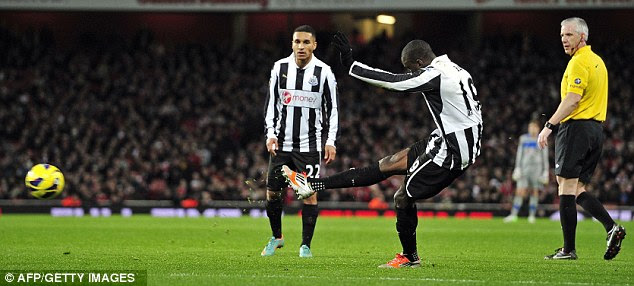 Ba-ck on terms: Demba Ba scored Newcastle's equaliser from a free-kick on the stroke of half-time