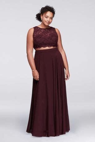 Scalloped Top Two Piece Burgundy Plus Size Prom Dress from