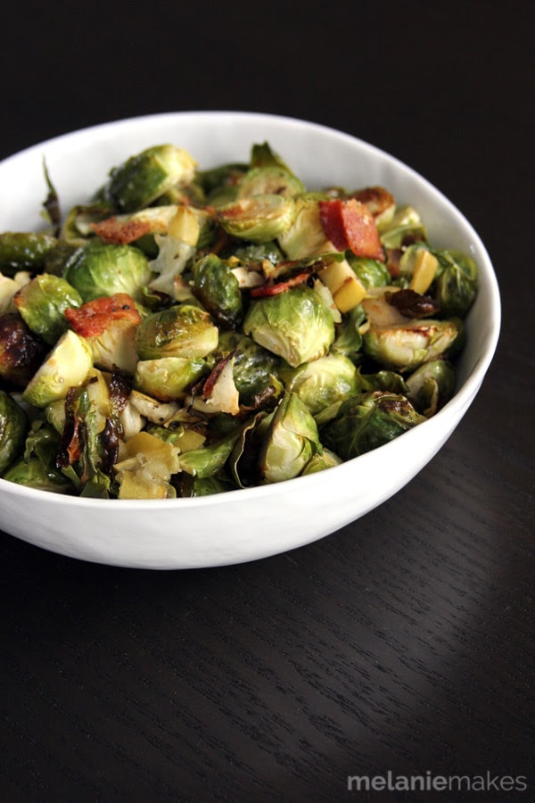 Roasted Brussels Sprouts with Apple and Bacon | Melanie Makes